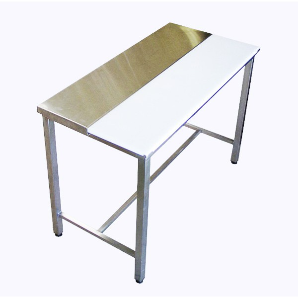 Table de decoupe mixte inox polyethylene boutique les for Decoupe plaque inox